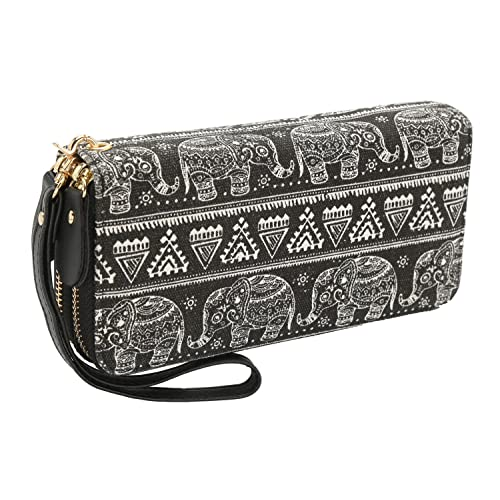 Bohemian Purse Wallet Canvas Elephant Pattern Handbag with Coin Pocket and  Strap 9a53ad4702bf