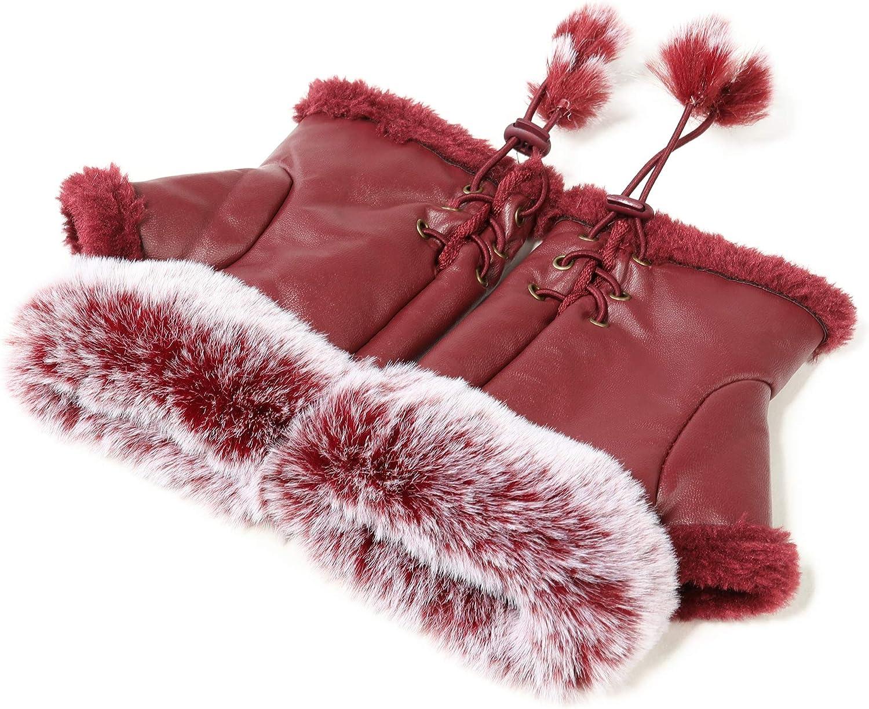 Winter Fingerless Gloves Cute Typing Gloves Fuzzy Furry Leather Mittens Faux Fur Lined Gloves Warm Hands Warmer Gloves Women