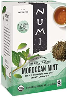 Numi Organic Tea Moroccan Mint, Tea Bags, Herbal Teasan, 18 Count, Pack of 3