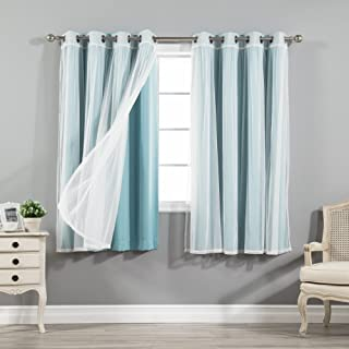 Best Home Fashion uMIXm Tulle Sheer Lace and Blackout 4 Piece Curtain Set – Stainless Steel Nickel Grommet Top – Ocean – 52