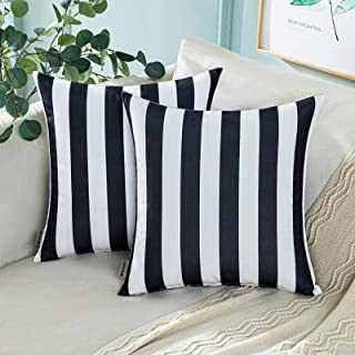 MIULEE Pack of 2 Decorative Outdoor Waterproof Throw Pillow Covers Stripe Square Pillowcases Modern Cushion Cases for Pati...