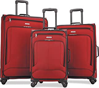 American Tourister Pop Max Softside Luggage with Spinner Wheels (Red, 3-Piece Set (21/25/29))