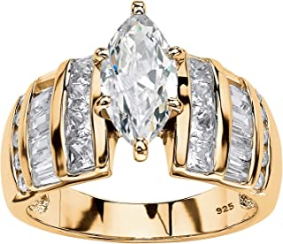 14K Yellow Gold over Sterling Silver Marquise Cut Cubic Zirconia Engagement Ring