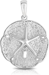 Sterling Silver Solid Two Sides Large Size Sand Dollar Starfish Charm and Necklace.