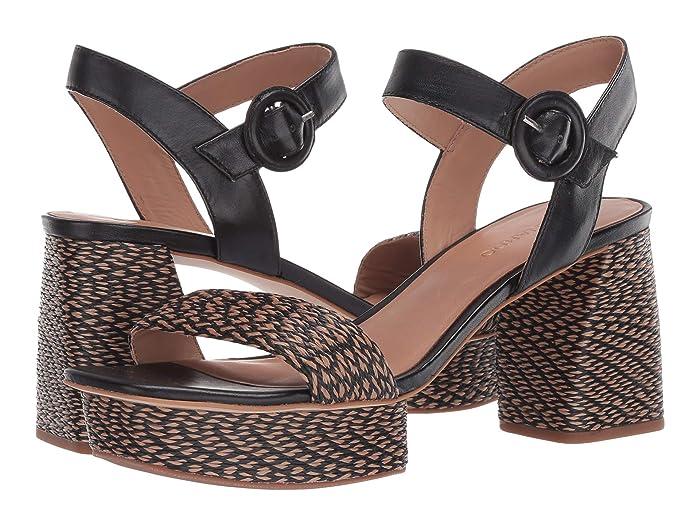 Bernardo  Reagan Heeled Sandal (Black Multi Raffia) Womens Sandals
