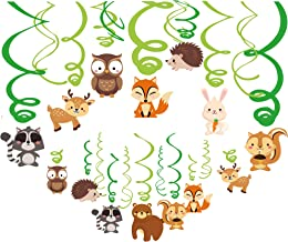 30Ct Woodland Animals Party Supplies,Forest Animal Party Supplies, Hanging Swirl Ceiling Streamers Decorations for Girls,Boys,Kids Home,Classroom,Baby Showers