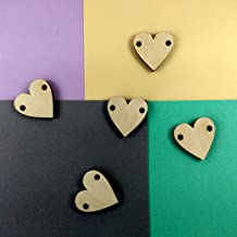 Wooden Hearts Tag Buttons, Bunch Craft Embellishment Ornaments 3 cm 1 inch DIY