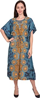 RADANYA Women Kaftan Dress Floral Tunic Maxi Kimono Long Caftan Nightdress Beach Polyester Party Casual Dress
