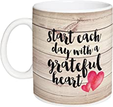 Start Each Day With a Grateful Heart Design Wood 15 Ounce Ceramic Coffee Mug