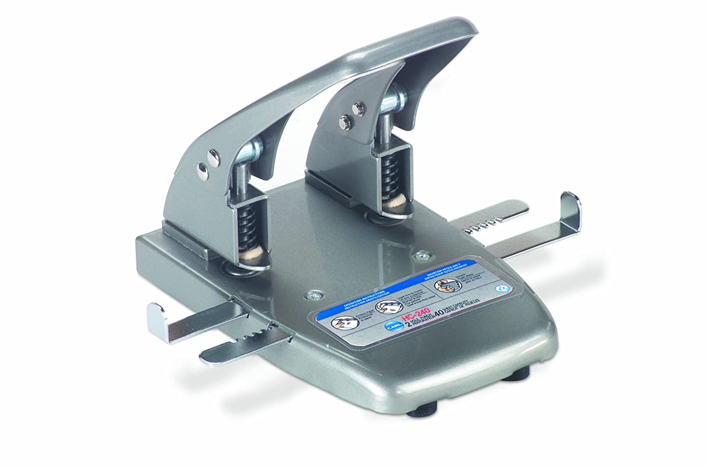 CARL 62040 40-Sheet Capacity hc-240 Two-Hole Punch, 9/32 Dia. Holes, Silver
