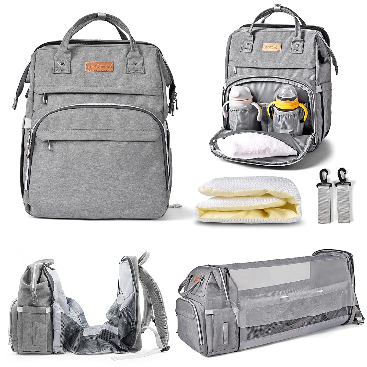Diaper Bag Backpack Multi-Function Waterproof Travel Backpack Nappy Bags for Baby Care,Diaper Bag with Foldable Baby Bed and USB Large Capacity, Stylish and Durable-Light Gray