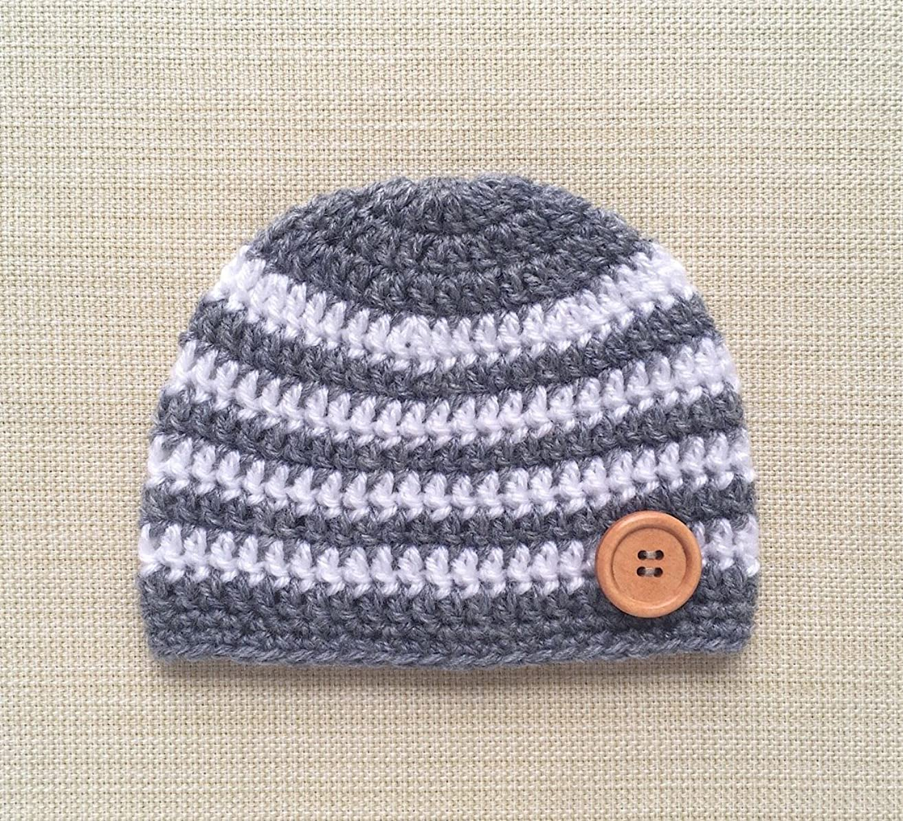 0-6 Month Crochet Baby Hat Boy Hospital Newborn Beanie For Pictures Gray White Striped Infant Cap