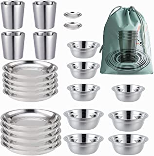 Stainless Steel Plates,Bowls,Cups and Spice Dish. Camping Set (24-Piece Set) 3.5inch to 8.6inch. Camping, Hiking, Beach,Ou...