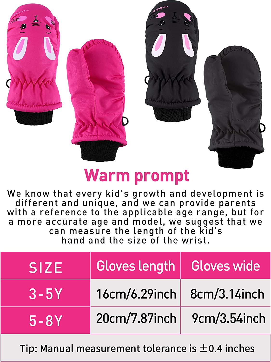 2 Pairs Child Ski Gloves Toddlers Waterproof Snow Mittens for Boys Girls