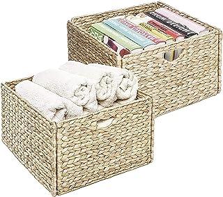 Seville Classics Foldable Handwoven Water Hyacinth Cube Storage Basket Bin, Rectangular (2-Pack)