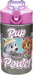 Zak Designs Paw Patrol 15.5oz Stainless Steel Kids Water Bottle with Flip-up Straw Spout - BPA Free Durable Design, Paw Patrol Girl SS