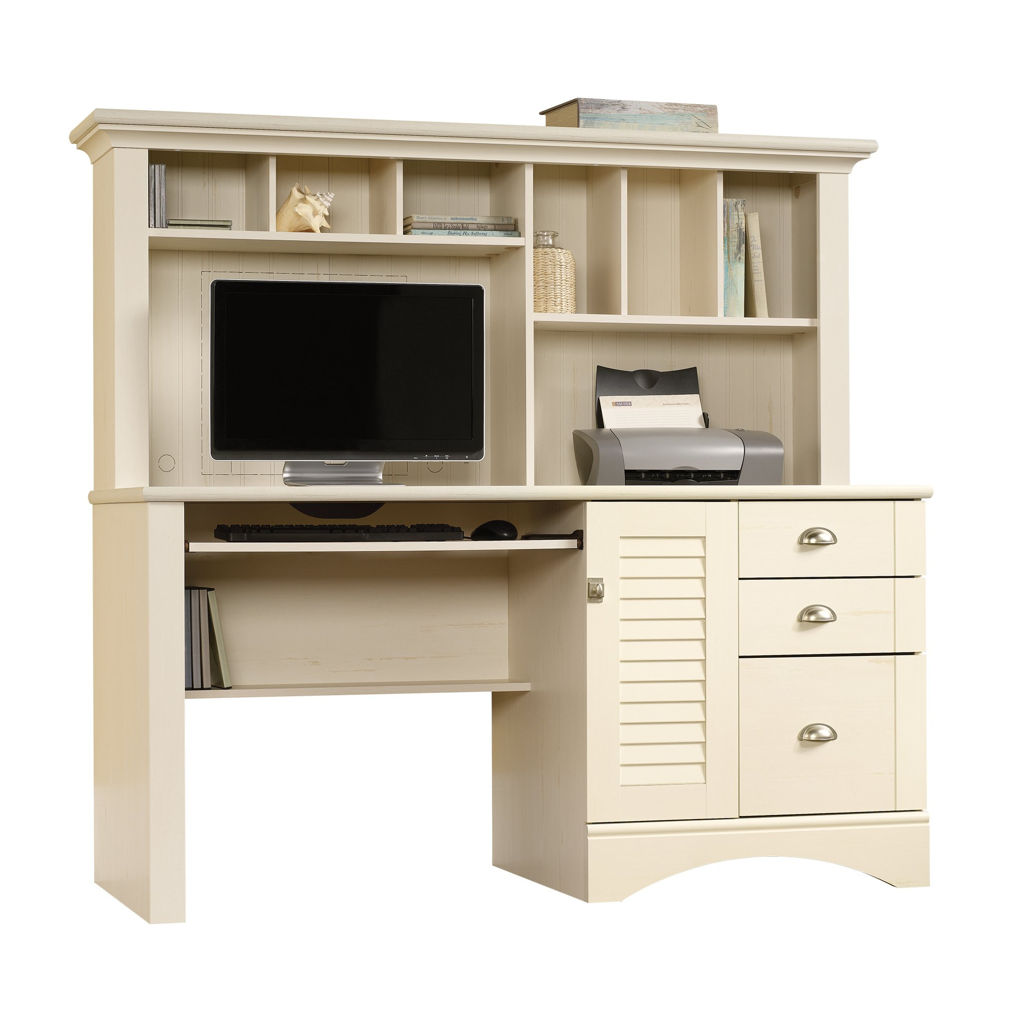 white computer desk with hutch amazon com rh amazon com white desktop hutch white desk hutch only