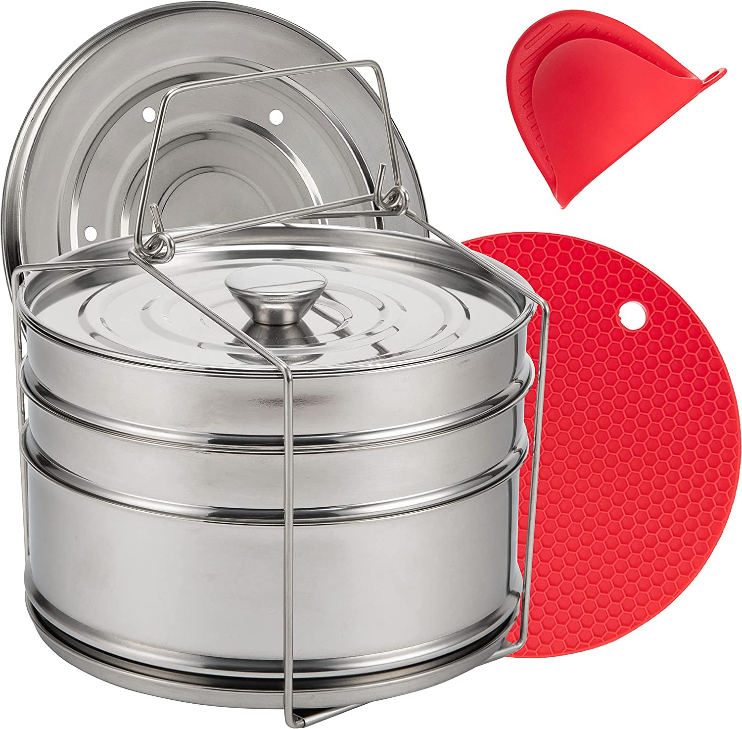 DEGIKO Pressure Cooker Stackable Steamer Insert Pans - 3 Tiers to Cook 3 Dishes at the Same Time - 304 Stainless Steel - 2 Different Lids - Comes With 1 Silicone Glove and 1 Silicone Trivet