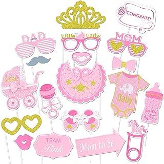 Konsait Baby Shower Photo Booth Props, bebé Ducha Cumpleaños Cabina de Fotos con Accesorios Photocal Biberón Máscaras Gafas para Niños niñas Regalo Bienvenida Decoracion bebé Fiesta (20 piezas)