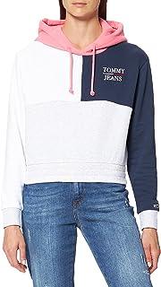 Tommy Jeans Tjw Crop Colorblock Logo Hoodie Felpa con Cappuccio Donna