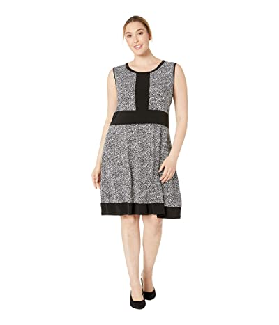 MICHAEL Michael Kors Plus Size Spring Sleeveless Border Dress (Black/White) Women