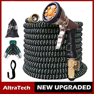 AltraTech Expandable Garden Hose 100FT with 9-Way Metal Nozzle Flexible Garden Hose Superior Strength 3750D Garden Hoses for Watering/Gardening/Cleaning