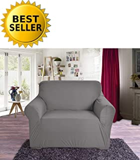 Elegant Comfort Collection Luxury Soft Furniture Jersey Stretch SLIPCOVER, Chair Gray