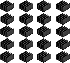 Easycargo 20pcs Small Mini Heatsink Kit + Thermal Conductive Adhesive Tape, Mini Cooler Heat Sink for Cooling VRM Stepper Driver MOSFET VRam Regulators (8.8mmx8.8mmx5mm)