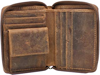 Starhide Mens Designer Full Zip Around Distressed Hunter Real Leather Billfold Wallet 720 Brown