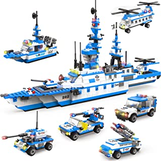 1169 Pieces City Police Station Building Kit, 6 in 1 Military Battleship Building Toy, with Cop Car, Patrol Boat, Helicopt...