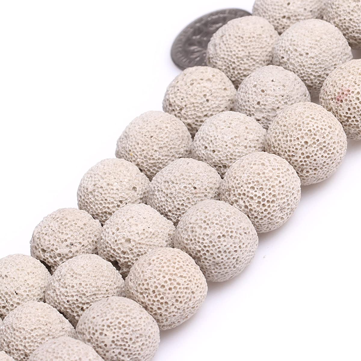 JOE FOREMAN 14mm Lava Rock Semi Precious Gemstone Round Cream White Loose Beads for Jewelry Making DIY Handmade Craft Supplies 15