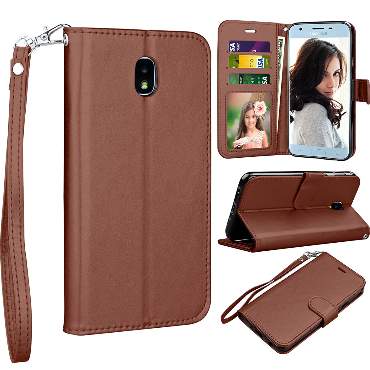 Njjex Galaxy J7 2018/J7 Aero/J7 Aura/J7 Top/J7 Crown/J7 Refine/J7 Eon/J7 Star Wallet Case,[Nallet] PU Leather Flip [Card Slots] [Kickstand] Cover with Magnetic Wrist Strap For Galaxy J7 2018 [Brown]