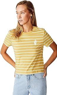 Cotton On Women's Graphic T-Shirt, Palm Cocoon Marle/Gardenia Stripe