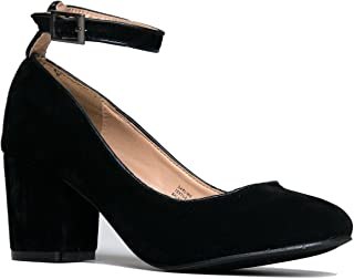 Ankle Strap Pump Heel -Comfortable Round Toe Dress Block Shoe - Darling