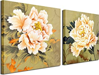 Gardenia Art - Orange Yellow Flowers Canvas Prints Wall Art Paintings Abstract Flowers for Girls' Women's Room Living Room Bedroom Decoration, 12x12 inch/Piece, 2 Panels