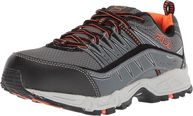 Fila Men's Memory at Peak Composite Toe Trail Running shoes Food Service, Castlerock Black Vibrant orange, 11 D US