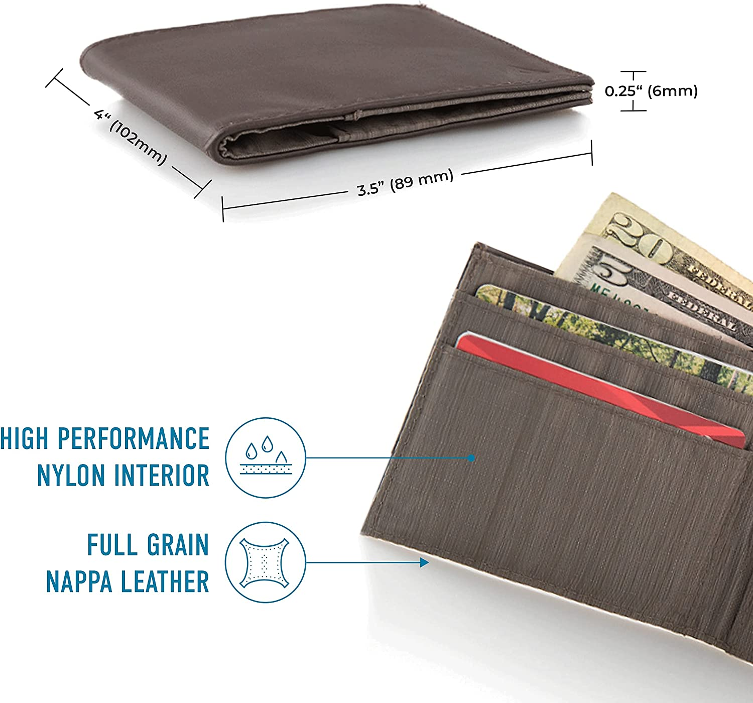 Allett ID Wallet, Brown | Leather, Slim Minimalist Bifold Wallet | Durable & USA Made | Holds 4-12+ Cards, Cash