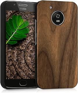 kwmobile Motorola Moto G5 Wood Case - Non-Slip Natural Solid Hard Wooden Protective Cover for Motorola Moto G5