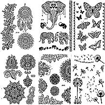 Pinkiou Henna Tattoo Stickers Lace Mehndi Temporary Tattoos for Maverick Women Teens Girls Metallic Tattooing Pack of 6 (black)
