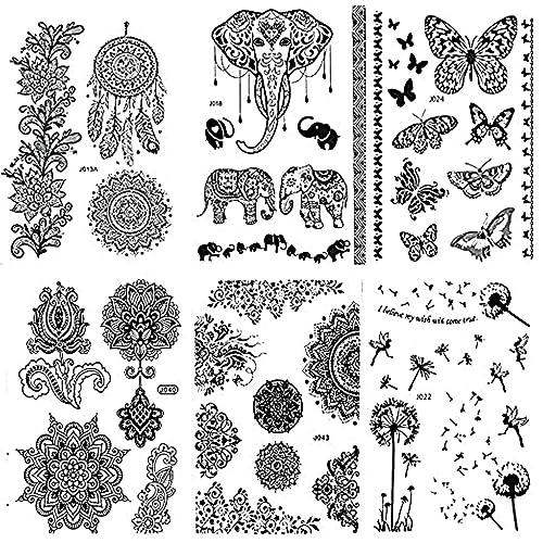 68eb33f89 Pinkiou Henna Tattoo Stickers Lace Mehndi Temporary Tattoos for Maverick  Women Teens Girls Metallic Tattooing Pack
