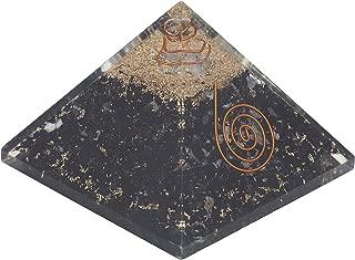 Crocon Black Tourmaline Orgone Pyramid with Crystal Point for Yoga Energy Generator Reiki Healing Balancing EMF Protection Gemstone Aura Cleansing Spiritual Wealth Decor Size: 2.5-3 Inch