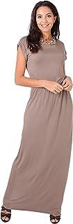 KRISP Womens Summer Maxi Dress Long Boho Short Sleeve Beach Loose Plain Casual