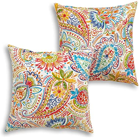 Amazon Com Greendale Home Fashions 17 Outdoor Accent Pillows In Painted Paisley Set Of 2 Jamboree Garden Outdoor