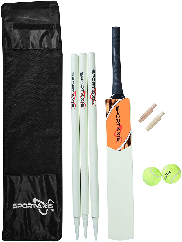 SPORTAXIS- Wooden Cricket Set- Contains Tennis Bat Light 4 Mail order cheap years warranty 2 Ball