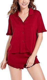 Pajamas Set Women Short Sleeve Sleepwear Ladies Soft Ruffle Seams PJ Lounge V Neck Nightwear Sets S-XXL