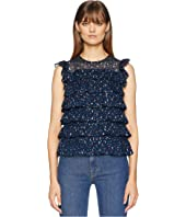 Rebecca Taylor - Sleeveless Dot Ruffle Top