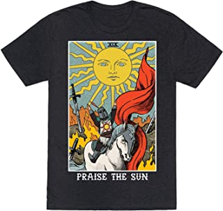Praise The Sun Tarot Card Heathered Black Medium Mens/Unisex Fitted Triblend Tee by