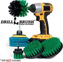 Drillbrush Scrub Brush Drill Attachment Kit - Drill Powered Cleaning Brush and Pad Attachments - Time Saving Cleaning Kit Great for Kitchen, Bathroom, Cookware and Much More Green,Blue