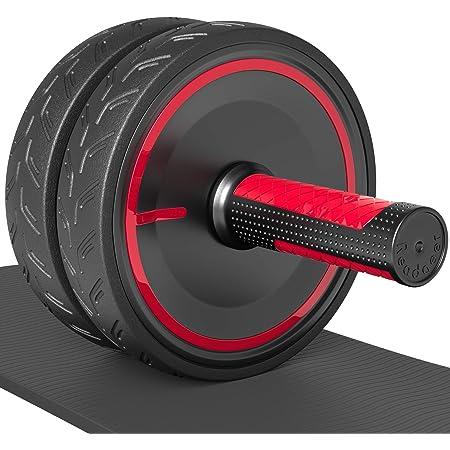 Readaeer Roues abdominaux AB Roller/Wheel avec Tapis épais pour Genoux, Rouge/Noir