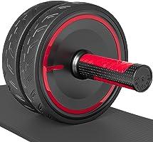 Reodoeer 腹筋ローラー 初心者向け 天然ゴム材料使用で 静音性 安定性 使用感UP アブホイール エクササイズローラー エクササイズウィル スリムトレーナー 高品質膝マット付き